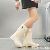 雨鞋女高筒韓國可愛時尚款外穿雨靴長筒水鞋防水防滑成人套鞋  印象家品