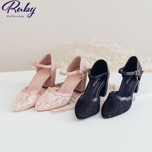 鞋子 蕾絲花邊繫踝粗跟鞋-Ruby s 露比午茶