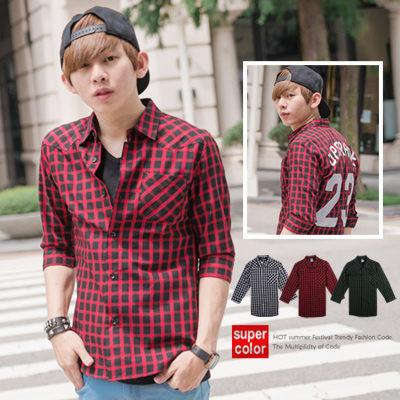 【N8692J】韓版潮流UPGRADE漆皮23號方格七分袖襯衫(SH6092)