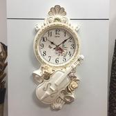 簡歐式掛鐘簡約時尚靜音藝術客廳鐘表臥室掛表復古美式現代石英鐘 居享優品