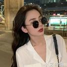韓版劉仁娜眼鏡復古網紅大圓框金屬偏光太陽鏡男顯瘦近視墨鏡女潮 小艾新品