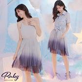 洋裝 點點綁帶漸層百摺兩件式短袖洋裝-Ruby s 露比午茶