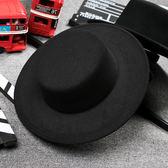 黑色禮帽復古紳士英倫風平頂平沿毛呢男女帽子