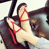 學生平底夾腳人字拖女夏坡跟時尚厚底防滑涼拖鞋外穿情侶沙灘鞋潮 依凡卡時尚
