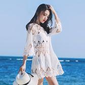 85折海邊度假沙灘泳衣外套防曬比鏤空針織衫罩裙開學季
