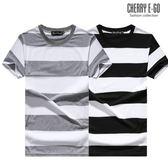 Cherry e購【K6407】潮男,寬版條紋落肩寬鬆短袖棉T_2色