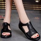 魚口鞋平底涼鞋女學院風夏季羅馬魚嘴軟底防滑平跟厚底學生女鞋 亞斯藍