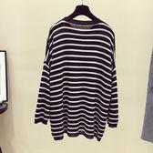 2018春夏圓領條紋t恤女長袖冰絲針織衫
