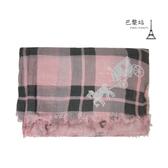 【巴黎站二手名牌專賣店】*現貨*COACH 真品*經典馬車圖樣x粉色花朵格紋柔軟圍巾 (140x200)