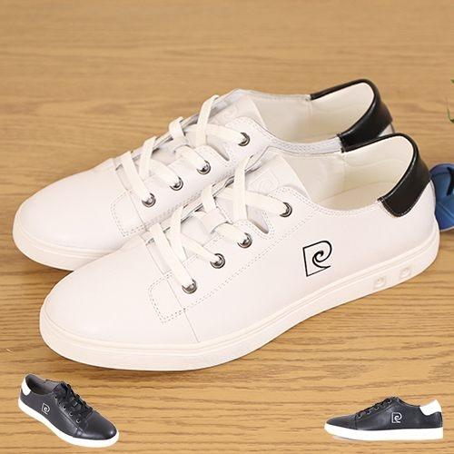 男款 Pierre Cardin 牛皮質感簡約純白休閒鞋 輕量透氣 小白鞋 休閒鞋 滑板鞋 59鞋廊