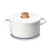 (組)琺瑯雙耳湯鍋20cm+自然風陶瓷鍋墊-花磚織紋
