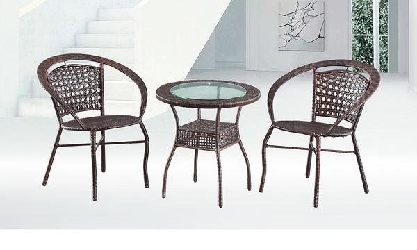 【南洋風休閒傢俱】戶外休閒桌椅系列-黑藤休閒圓桌椅組 戶外餐桌椅CX902-2 CX939-17)