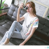 《AB11018》台灣製造.流動彩虹線條印花反褶短袖T恤/上衣 OrangeBear
