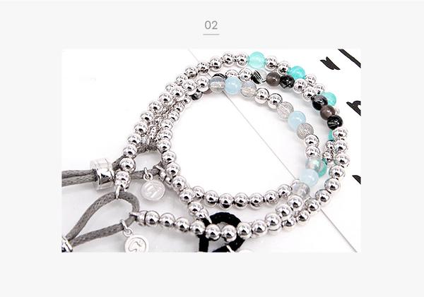《 SilverFly銀火蟲銀飾 》天然黑髮晶&黑曜石純銀手鍊
