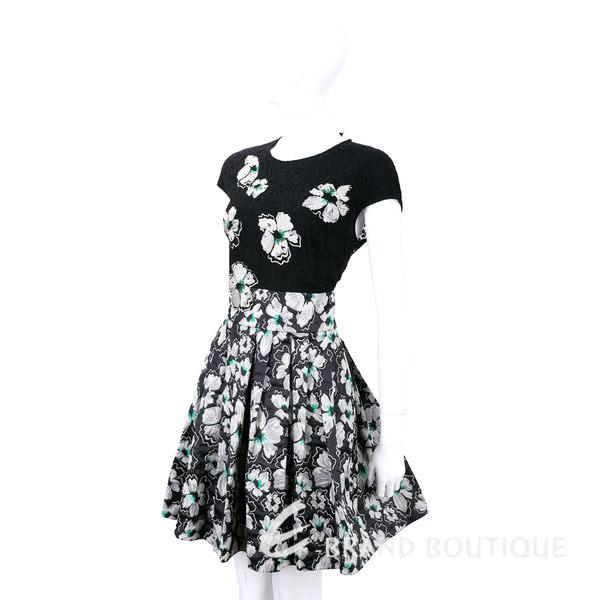 BLUGIRL 黑色蕾絲繡花拼接短袖洋裝 1540302-01