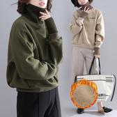 大碼女裝秋冬慵懶風套頭帽T加絨加厚拼接高領字母打底衫韓版寬鬆