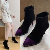 細跟短靴馬丁靴女英倫風2020新款時尚細跟網紅冬季高跟鞋性感后拉錬短靴潮 新年禮物