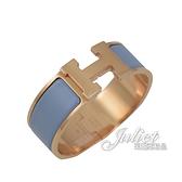 茱麗葉精品【全新現貨】HERMES CLIC H LOGO 琺瑯寬版手環.玫瑰金/粉藍