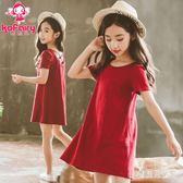 女童短袖洋裝 2019夏裝新款公主裙女孩超洋氣露背兒童沙灘裙 BT5369『寶貝兒童裝』