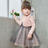 長袖洋裝 女童假兩件背心網紗連衣裙(內裡加絨) W67019