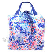 〔小禮堂〕迪士尼米妮折疊式環保 袋~L 藍水彩風花朵斑斕~4543479 14261