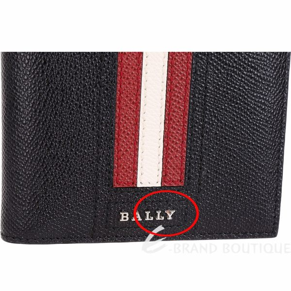 [ NG大放送]BALLY TONETT 經典紅白條紋黑色證件卡層對折皮夾 1890045-01