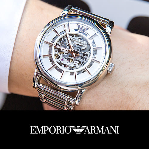 EMPORIO ARMANI 亞曼尼 AR1980 尊爵時尚鏤空設計機械錶 熱賣中!