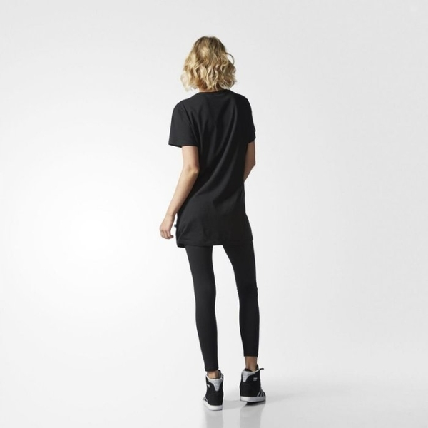 adidas Originals 愛迪達 三葉草 長版黑色 黑白logo 洋裝 短袖t桖 連身T桖 AY8123/澤米