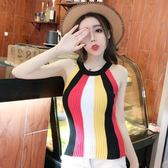 夏裝2018新款女韓版氣質條紋拼色無袖修身打底衫針織吊帶背心上衣
