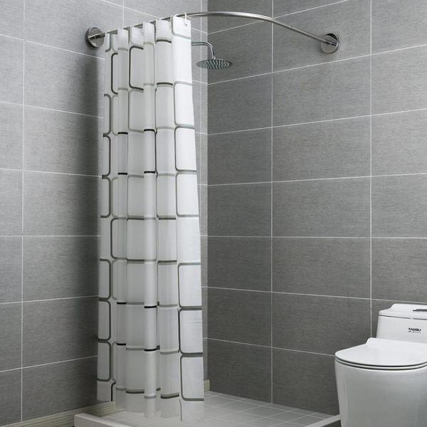 不銹鋼浴簾桿免打孔伸縮桿弧形衛生間淋浴房l形半u型浴室浴桿架