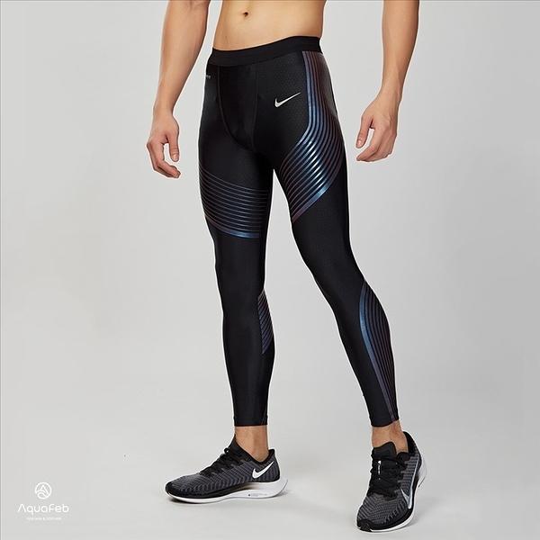 Nike Power Speed Tight 男子 黑藍 專業 跑步 緊身褲 717751-025