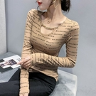 長T 修身T恤 性感小衫時尚網紅印字母修身鏈飾打底T恤小衫上衣女H466快時尚