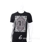 TRUSSARDI T字班馬紋圖印黑色棉質T恤 1810256-01