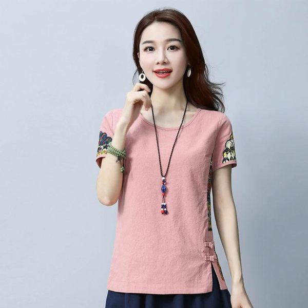 短袖t恤女 2018夏季民族風衣服新款寬鬆圓領 LQ3228『小美日記』