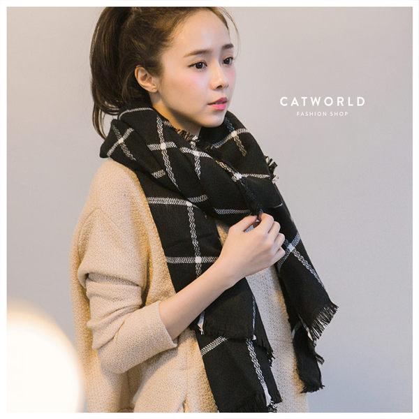 Catworld 方格鬚邊毛料圍巾【18002664】‧F