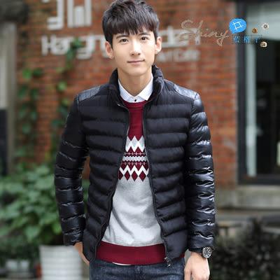 【Y011】shiny藍格子-帥氣好物.秋冬裝修身立領大碼長袖外套