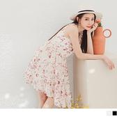 《DA7739》優雅葉紋印花收腰剪裁涼感無袖洋裝 OrangeBear