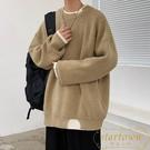 厚款毛衣男士秋季寬鬆圓領針織衫休閒外套【繁星小鎮】