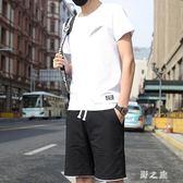 中大尺碼運動套裝 夏季短袖t恤短褲潮一套衣服韓版休閒兩件套夏天 nm21000【野之旅】