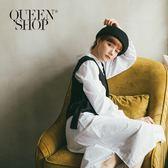 Queen Shop【01084218】假兩件式背心拼接綁帶襯衫洋裝*現+預*