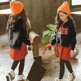 女童大學T2018新款 加絨潮 洋氣中大童秋冬連帽中長款套頭大學T裙厚