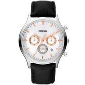 FOSSIL 復古潮男時尚手錶-銀x黑/41mm FS4640
