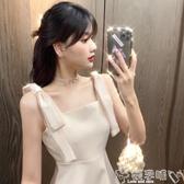 雙11禮服2020夏季新款重工蝴蝶結亮鑽禮服裙子氣質收腰顯瘦A字連身裙女裝