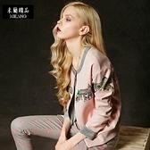 棒球外套-撞色寬鬆印花拉鏈女圓領夾克2色72aq5[巴黎精品]