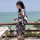 秋季韓國復古寬鬆顯瘦中長款襯衫裙氣質碎花上衣學生女裝 可可鞋櫃