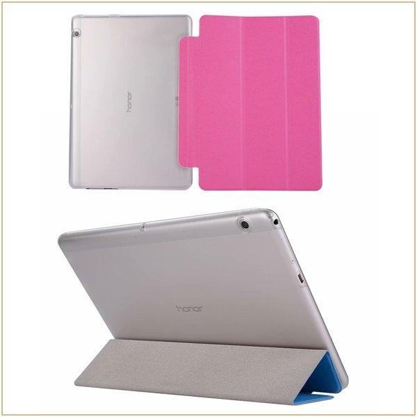 蠶絲紋 華為 MediaPad T3 10 平板皮套 超薄三折 支架 透明後蓋 榮耀 暢玩2 9.6吋 全包邊 保護套