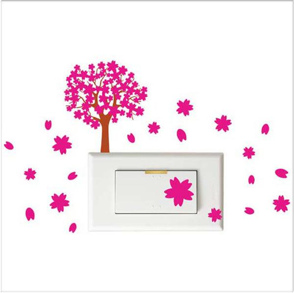 【開關小壁貼】櫻花樹 # 壁貼 防水貼紙 汽機車貼紙 10.3cm x 7.6cm