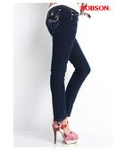 BOBSON  女款彩線伸縮小直筒褲(8058-53)