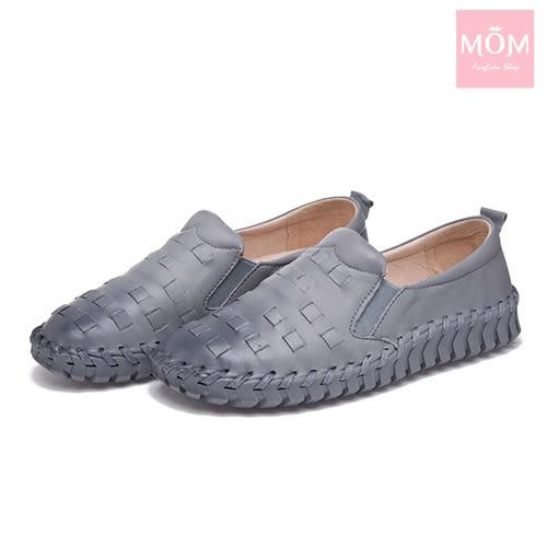 全真皮編織超厚軟底手工頭層牛皮舒適樂福鞋 灰 *MOM*