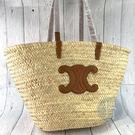 BRAND楓月 CELINE 棕色 咖啡色 皮革裝飾 凱旋門 TRIOMPHE 草編包 沙灘包 菜籃子 大款 GM